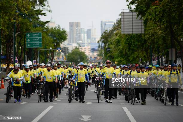 Cyclist take part in the cycling event quotUn Ai Rak Bicycle Ridequot in Bangkok Thailand on 09 December 2018