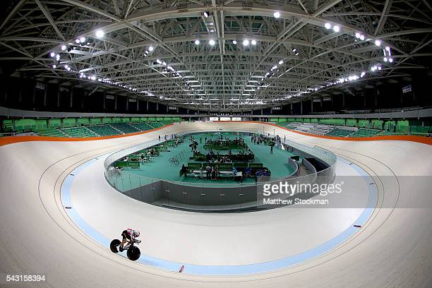 A cyclist trains at the newly delivered Olympic Velodrome at Olympic Park on June 26 2016 in Rio de Janeiro Brazil