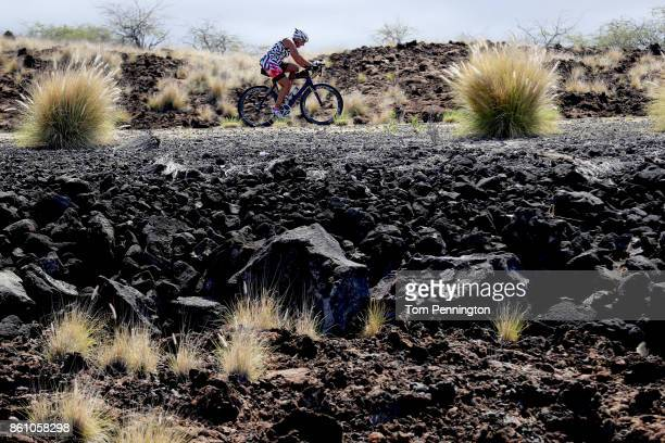 A cyclist trains before the IRONMAN World Championship on October 13 2017 in Kailua Kona Hawaii