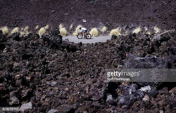 A cyclist trains on the 2016 IRONMAN World Championship triathlon course on October 7 2016 in Kailua Kona Hawaii