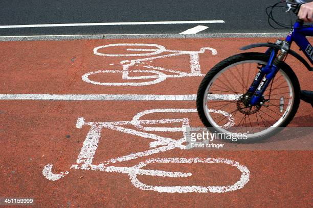 Cyclist using the two way cycle lane along Southsea seafront.