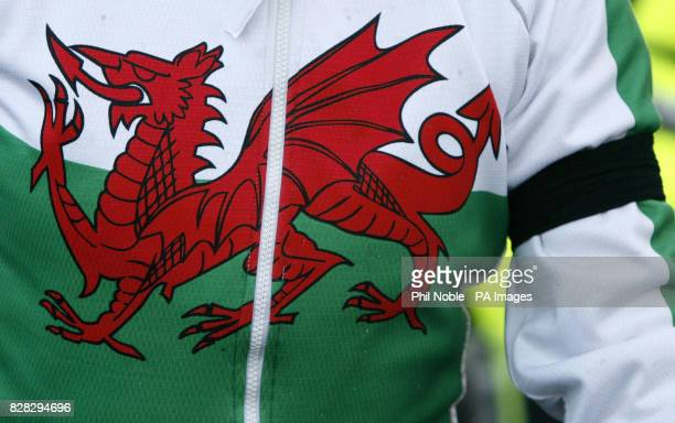 A cyclist wearing a Welsh cycling jersey and a black arm band joins the Rhyll Cycling Club on a club ride Sunday January 15 2006 a week on from a...