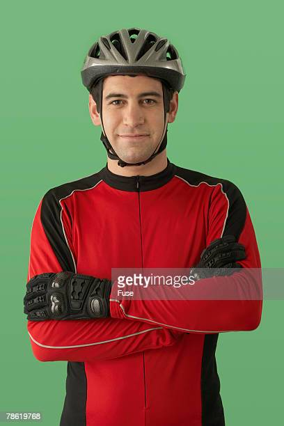 Cyclist Wearing Protective Clothing