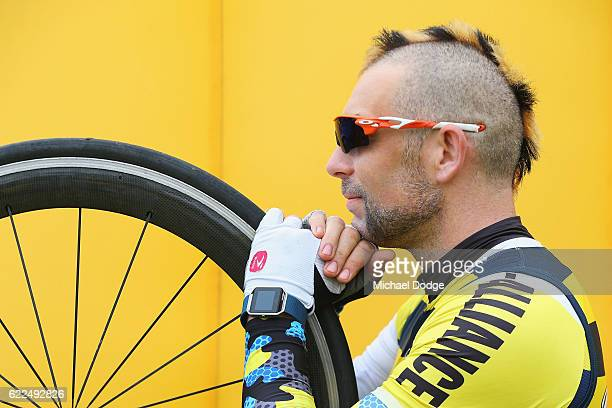 A cyclist with a shaven head for Movember relaxes during Challenge Shepparton on November 12 2016 in Shepparton Australia
