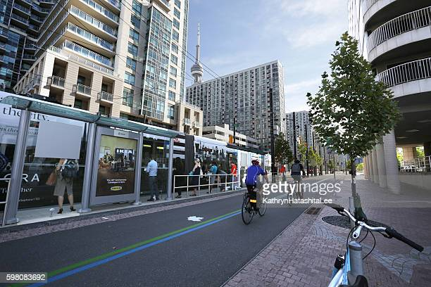 Cyclists and Streetcar Passengers, Queens Quay, Trans Canada Trail, Toronto