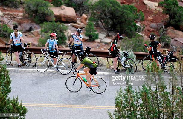Cyclists are climbing hill at Colorado Nation Monument on Sunday 2000 cyclists travel 45 miles loop of Colorado National Monument in Grand Junction...