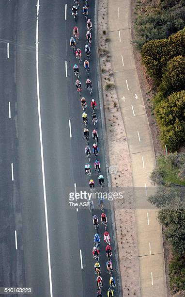 Cyclists at a memorial for James Gould who was killed by a group cyclists as he tried to cross the road during the Hell Ride race Melbourne 1...
