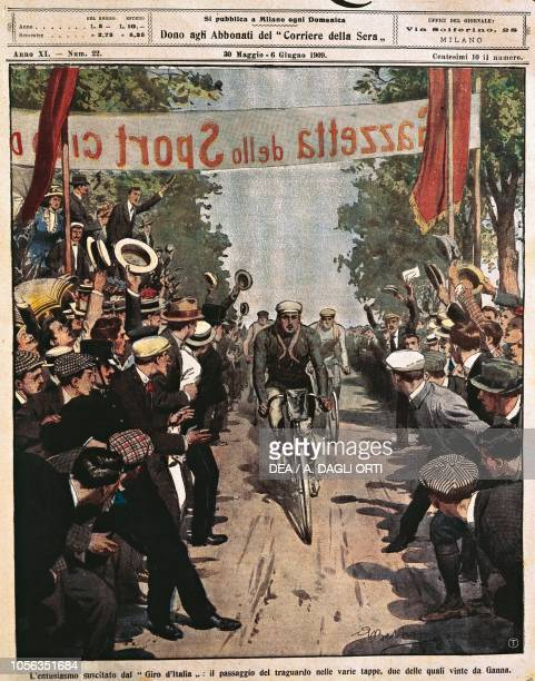 Cyclists at Giro d'Italia, Luigi Ganna at the arrival of a stage, illustration by Achille Beltrame from La Domenica del Corriere, May 30, 1909.