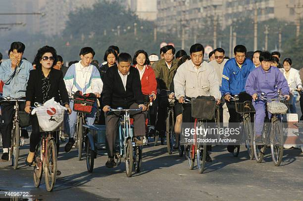 Cyclists at rush hour in Beijing 1983