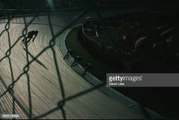 Cyclists at the velodrome during the 1960 Rome Olympics