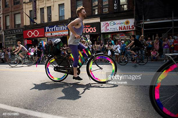 TORONTO ON JUNE 28 Cyclists at the WorldPride Dyke March 2014 in Toronto