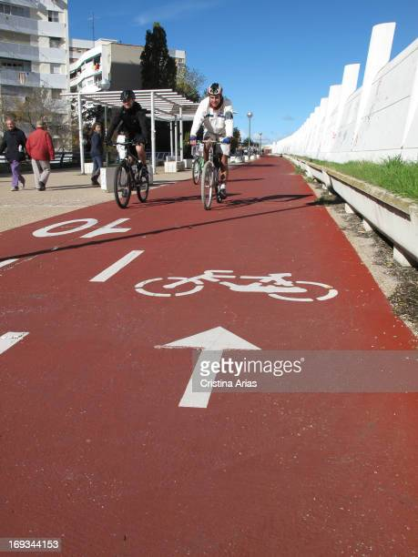 Cyclists circulating by a the so-called Madrid Green Cyclist ring, a bicycle path that surrounds Madrid by foreign neighborhoods with a trajectory of...