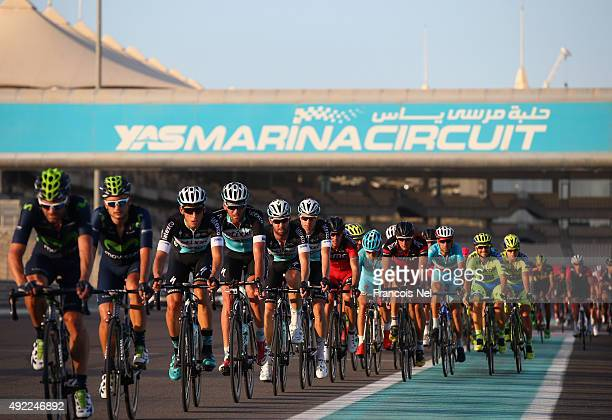 Cyclists compete during stage four of the 2015 Abu Dhabi Tour on October 11 2015 in Abu Dhabi United Arab Emirates