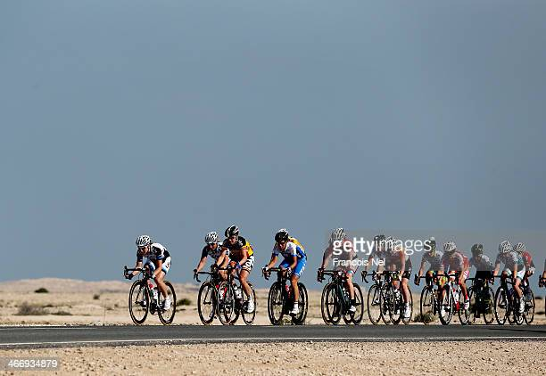 Cyclists compete during stage two of the 2014 Ladies Tour of Qatar from Al Zubara to Madinat Al Shamal on February 5, 2014 in Doha, Qatar.
