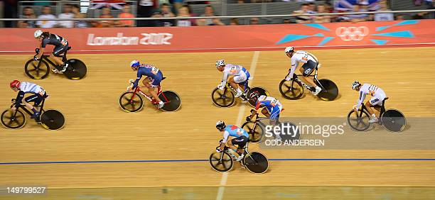 Cyclists compete during the London 2012 Olympic Games men's omnium 30kms points race cycling event at the Velodrome in the Olympic Park in East...