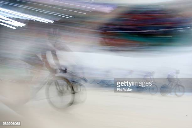 Cyclists compete during the Men's Omnium Scratch Race 1/6 on Day 9 of the Rio 2016 Olympic Games at the Rio Olympic Velodrome on August 14 2016 in...