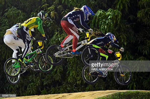 TOPSHOT Cyclists compete during the UCI BMX World Championships Elite Women's Moto Race on May 29 2016 in Medellin Antioquia department Colombia /...