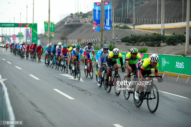 Cyclists compete in Road Race Men Finals at Costa Verde San Miguel on Day 15 of Lima 2019 Pan American Games on August 10, 2019 in Lima, Peru.