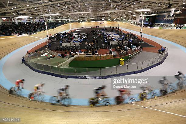 Cyclists compete in the Elite Men Omnium Round 6 40km Points race during the Oceania Track Cycling Championships on October 10 2015 in Invercargill...