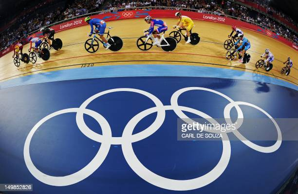 Cyclists compete in the London 2012 Olympic Games men's omnium 15km scratch race cycling event at the Velodrome in the Olympic Park in East London on...