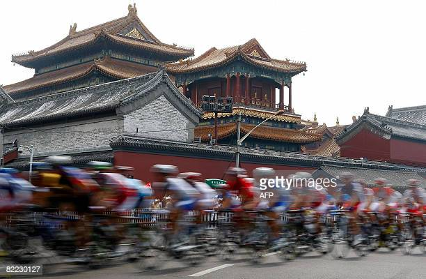 Cyclists compete in the men's road race at the 2008 Beijing Olympic Games in Beijing on August 9 2008 Spain's cyclist Samuel Sanchez claimed gold...