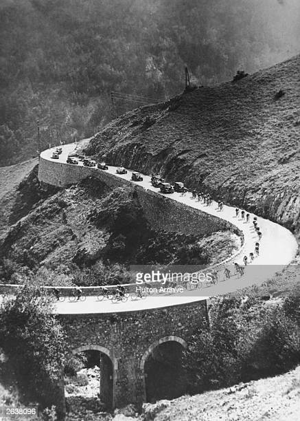 Cyclists competing in the 17th stage of the Tour de France race between Luchon and Tarbes in the Pyrenees mountains