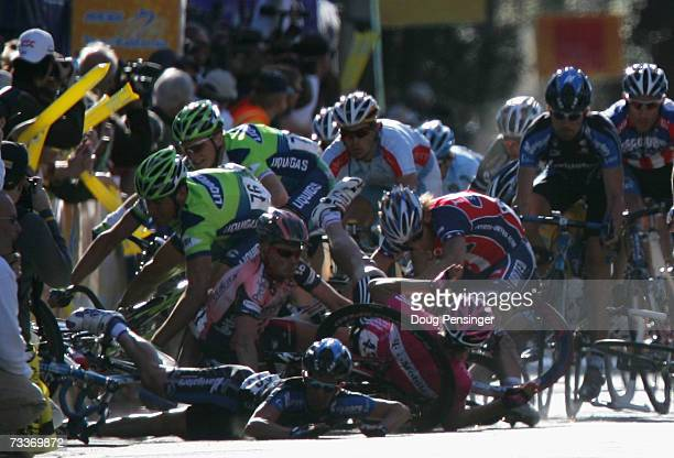 Cyclists crash into a pile at the finish of Stage 1 of the AMGEN Tour of California on February 19, 2007 in Santa Rosa, California.
