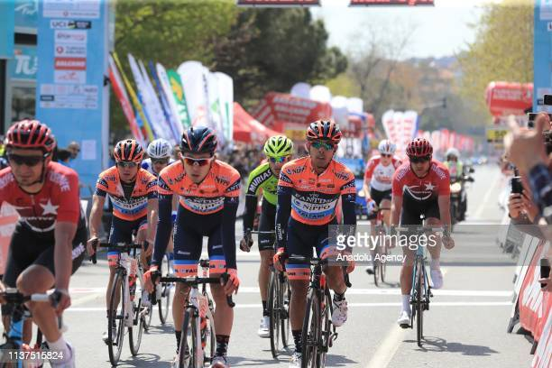 Cyclists cross the finish line of the first stage of 156,7 km long Istanbul-Tekirdag route within the 55th Presidential Cycling Tour of Turkey 2019...