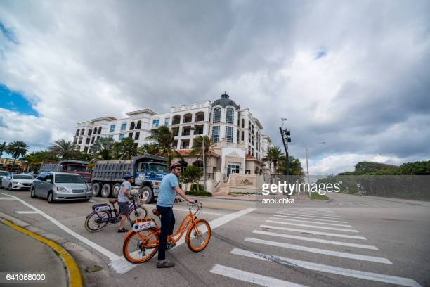 Cyclists crossing street in Boca Raton, USA