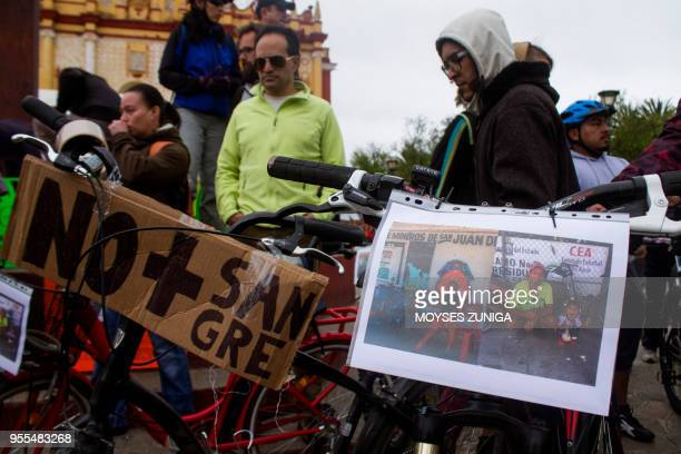 Cyclists demonstrate in San Cristobal de las Casas Chiapas State Mexico on May 6 for the death of a Polish and a German cyclist Authorities in Mexico...