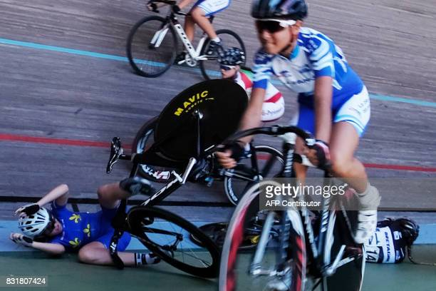 TOPSHOT Cyclists fall during the French championships on August 15 2017 at the Hyeres' velodrome southern France HORVAT