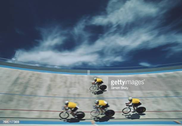 Cyclists from team Brazil compete during the Men's 4,000 m Team Pursuit race at the XII Pan American Games on 20 March 1995 at the Municipal...