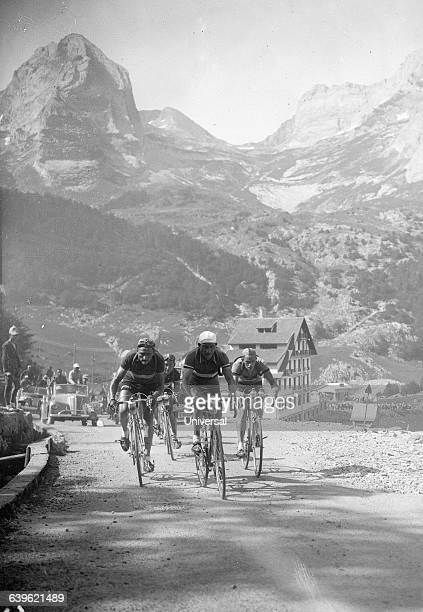 Cyclists Gino Bartali Fiorenzo Magni and Kleber Piot on the 18th stage of the 1950 Tour de France | Location Between Pau and SaintGaudens France