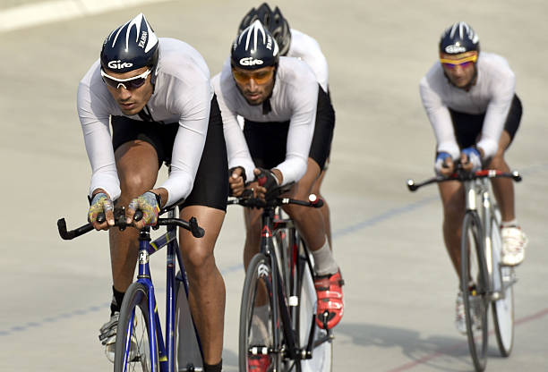 Cyclists in action in the team pursuit 3 km race during the InterUniversity Cycling Championship been held at Guru Nanak Dev University Cycling...