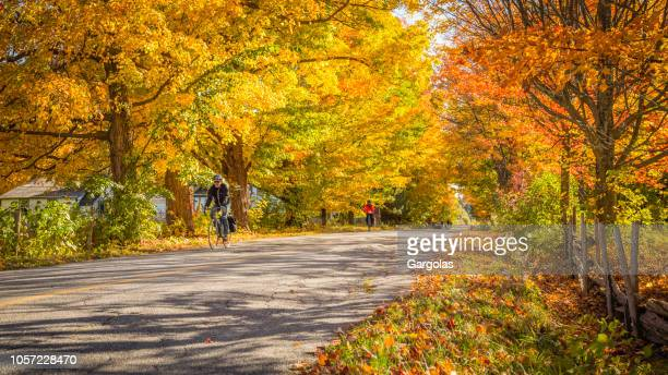 cyclists in the beautiful autumn scenery - eastern townships stock pictures, royalty-free photos & images