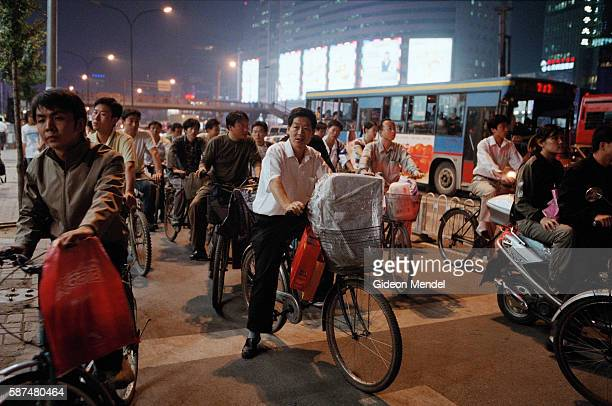 Cyclists in the busy Zhongguancun district which is known as the computer district of Beijing and has been called China's silicon valley Despite the...
