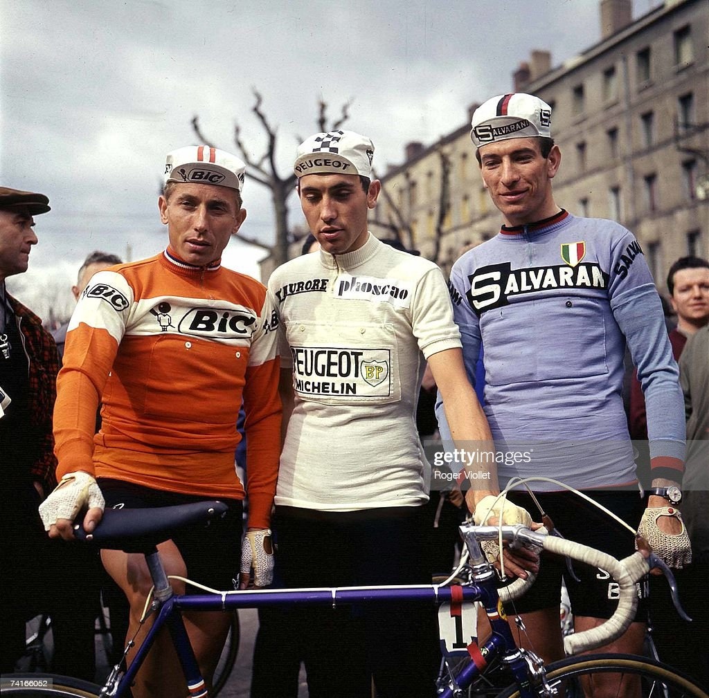 Cyclists Jacques Anquetil, Eddy Merckx and Felice Gimondi, all three winners of the Tour de France, 1970.