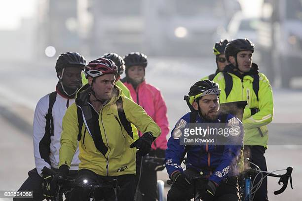 Cyclists make their way over Vauxhall Bridge amongst heavy traffic on January 24 2017 in London England The Mayor of London Sadiq Khan has announced...