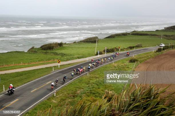 Cyclists make their way towards Tuatapere during stage 2 of the 2018 Tour of Southland on October 30 2018 in Tuatapere New Zealand