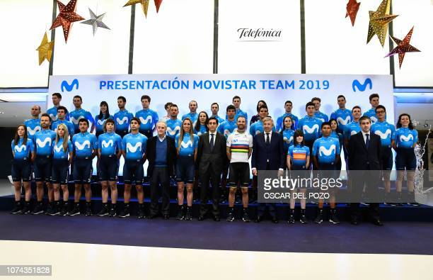 Cyclists of Spain's Movistar Team 2019 pose during the team presentation on December 18 2018 in Madrid