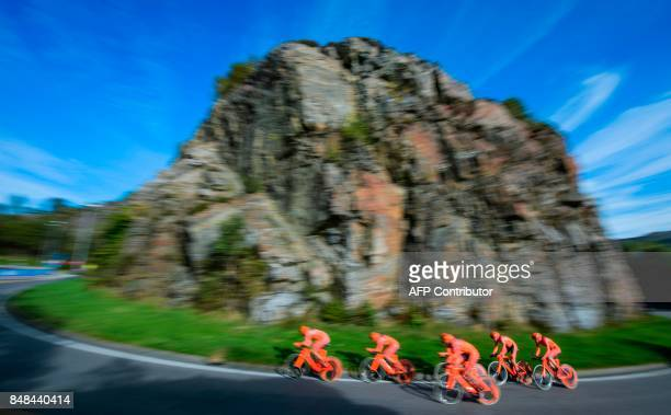 Cyclists of team CCC Sprandi Polkowice compete during the men's team time trial at the UCI Cycling Road World Championships on September 17 2017 in...