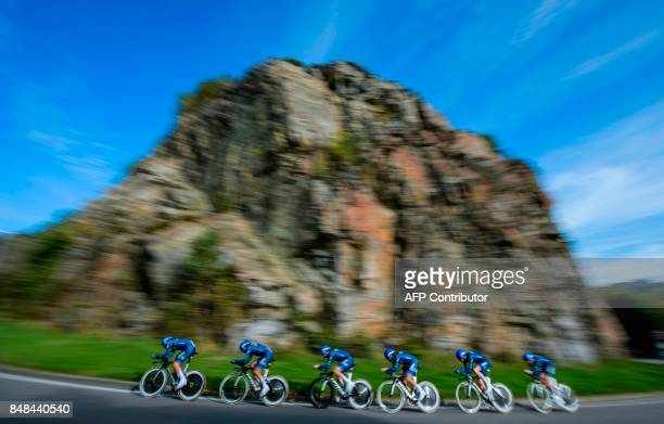 Cyclists of team Joker Icopal compete during the men's team time trial at the UCI Cycling Road World Championships on September 17 2017 in Bergen...