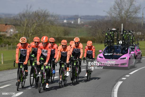 Cyclists of the EF Education First - Drapac Cannondale ride during a track reconnaissance on March 29, 2018 in Oudenaarde, ahead of 'Ronde van...