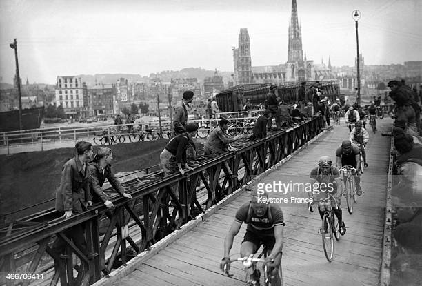 Cyclists of the Tour de France 1948 in Rouen during the stage between Paris and Trouville in July 1948 in Rouen France