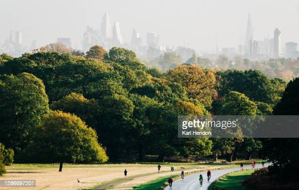 cyclists on a windy road at sunrise in a london park - gras stock pictures, royalty-free photos & images