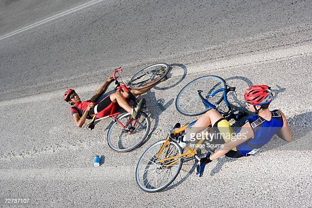 Cyclists on the ground