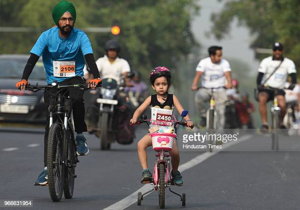 Cyclists participate in a cycle rally on the occasion of World Bicycle Day 2018 after Vice President Venkaiah Naidu unveiled the Smart Bike during an...