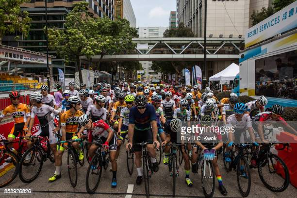 Cyclists participate in a race during the Sun Hung Kai Properties Hong Kong Cyclothon>> on October 8 2017 in Hong Kong Hong Kong Over 2500...