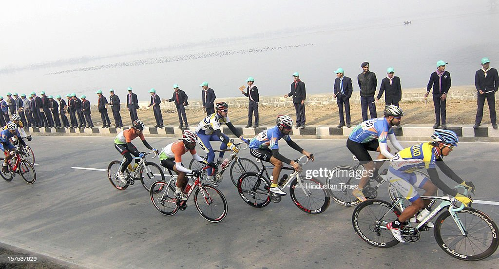 Cyclists participate in the Tour de India 2012, on December 4, 2012 in Srinagar, India. Some 80 participants of 54 nationalities competed. It was inaugurated on December 1, 2012 in Mumbai.
