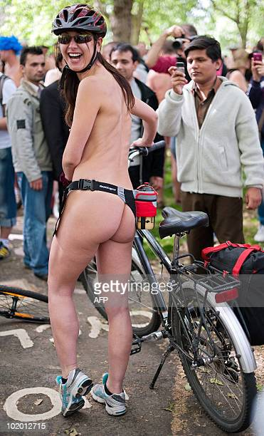 A cyclists prepares to take part in the annual 'London World Naked Bike Ride' event in Piccadilly central London on June 12 2010 Now in it's seventh...